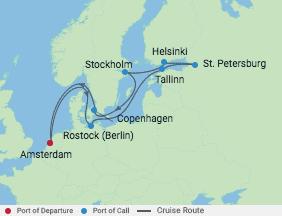 12 Night Scandinavia & Russia Cruise voyage map