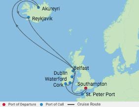 14 Night Iceland & Ireland Cruise voyage map