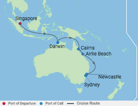 14 Night Australia's Great Barrier Reef voyage map