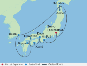 14 Night Best Of Japan Cruise voyage map