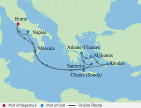 10 Night Italy & Best Of Greek Islands voyage map
