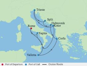 11 Night Italy, Croatia & Montenegro voyage map