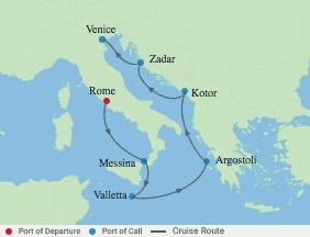 7 Night Italy, Greece & Adriatic Cruise voyage map