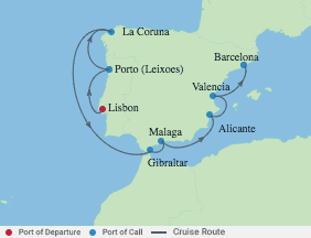 10 Night Best Of Spa& Portugal voyage map