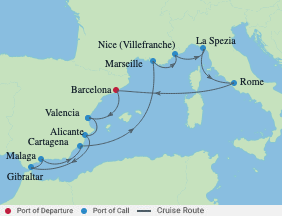 12 Nt Spa(andalusia), France & Italy voyage map