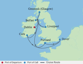 10 Night Ireland, England, Scotland voyage map
