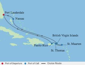 8 Night Eastern Caribbean & The Bahamas voyage map