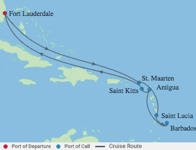 10 Ngt Ultimate Southern Caribbean voyage map