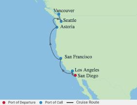 7 Night Pacific Northwest & California voyage map