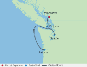 5 Night Pacific Northwest Cruise voyage map