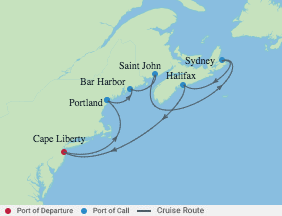 9 Night Maine & Canada Cruise voyage map