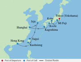 14 Night Japan, China & Taiwan Cruise voyage map