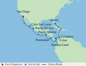15 Night Panama Canal Eastbound Cruise voyage map