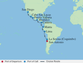 15 Night Chile To San Diego Cruise voyage map