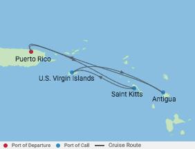 5 Night Dutch Antilles Caribbean Cruise voyage map