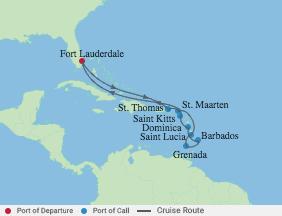 12 Night Southern Caribbean Cruise voyage map