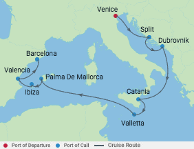10 Night Crotia, Italy & Spain Cruise voyage map