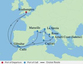 14 Night Italy & Mediterranean Cruise voyage map
