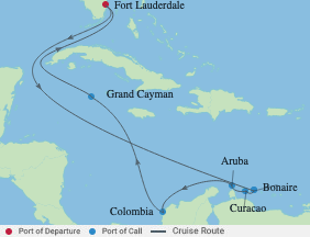 11 Night Aruba, Bonaire & Curacao Cruise voyage map