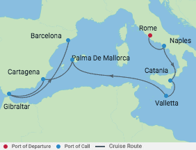 10 Night Italy & Spain Cruise voyage map