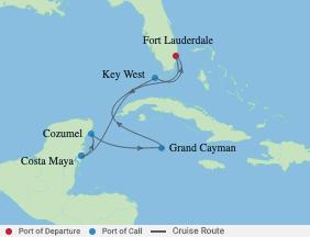 7 Night Western Caribbean Cruise voyage map