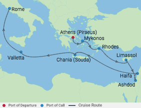 12 Night Israel & Mediterranean Cruise voyage map