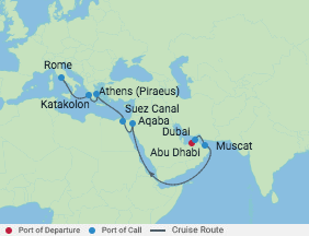15 Night Arabian Sea & Suez Canal Cruise voyage map