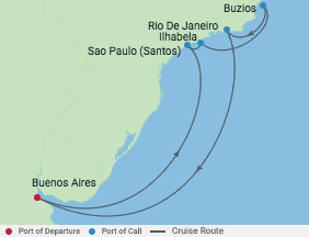 10 Night Brazil Cruise voyage map