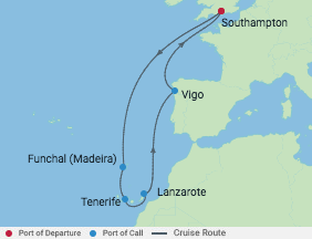 10 Night Spain & Canaries Cruise voyage map