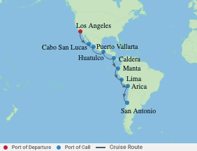 16 Night Los Angeles To Chile Cruise voyage map