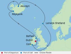 10 Night Ireland & Iceland Cruise voyage map