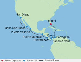 15 Night Panama Canal Westbound Cruise voyage map