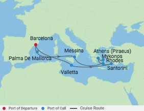 12 Night Italy & Greek Isles  Cruise voyage map