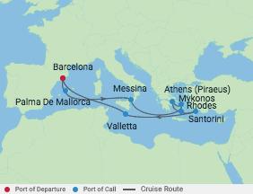 12 Night Greek Isles Cruise voyage map