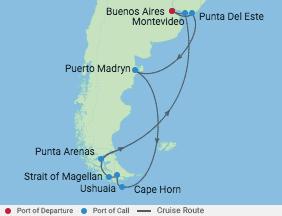 14 Night Chile & Argentina Cruise voyage map