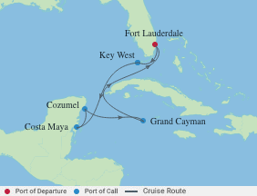 7 Night Western Caribbean Cruise voyage map
