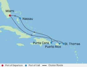 7 Night Eastern Caribbean Cruise voyage map