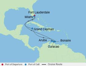 9 Night Southern Caribbean Cruise voyage map