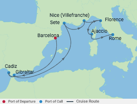 9 Night Spain, France & Italy Cruise voyage map