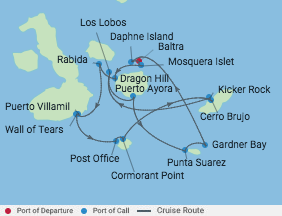 7 Night Galapagos Southern Loop Cruise voyage map