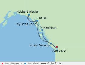 7 Night Alaska Hubbard Glacier Cruise voyage map