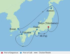 10 Night Japan & Korea Cruise voyage map