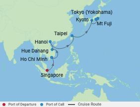 14 Night Vietnam, Taiwan, & Japan Cruise voyage map
