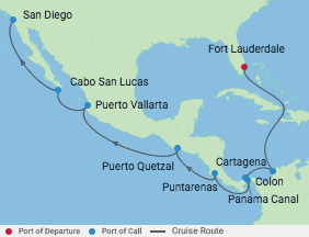 15 Night Westbound Panama Canal Cruise voyage map