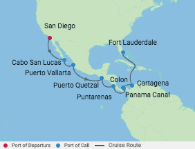 15 Night Eastbound Panama Canal Cruise voyage map