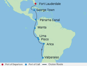 15 Night Canal & South America Cruise voyage map