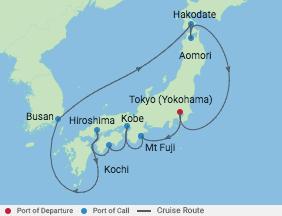 13 Night Japanese Explorer Cruise voyage map