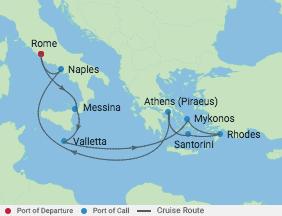 10 Night Italy & Greek Isles Cruise voyage map