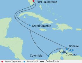 11 Night Ultimate Caribbean Cruise voyage map