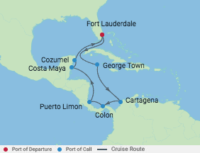 11 Night Ultimate Caribbean Cruise voyage map
